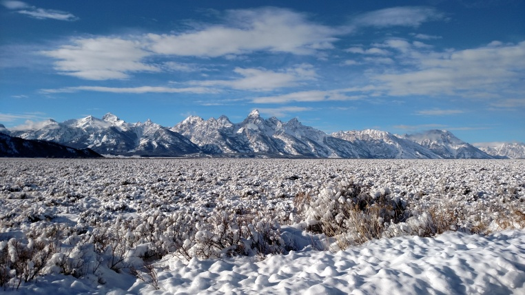 Teton mountains in the snow